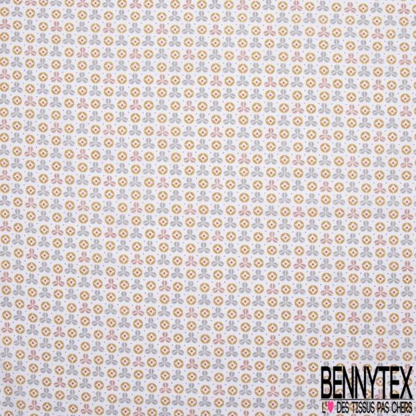 Crétonne 100% coton Impression Motif formes fantaisistes gris orange rouge Fond blanc