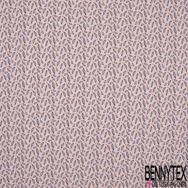 Crétonne 100% coton Impression Motif feuilles naïves Fond rose clair