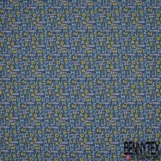 Crétonne 100% coton Impression Motif alphabet ton jaune turquoise bleu blanc Fond marine