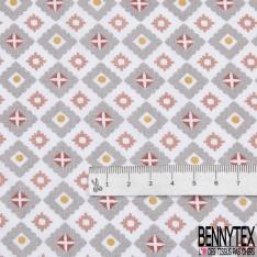 Crétonne 100% coton Impression Motif losanges fantaisistes ton gris rouge Fond blanc