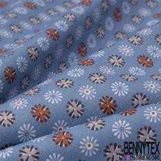 Crétonne 100% coton Impression Motif fleurs naïves Fond bleu