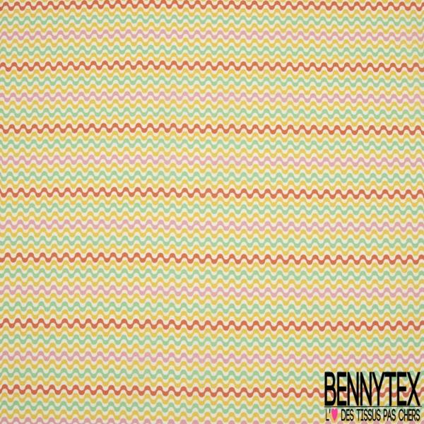 Crétonne 100% coton Impression Motif courbes superposées multicolores Fond blanc