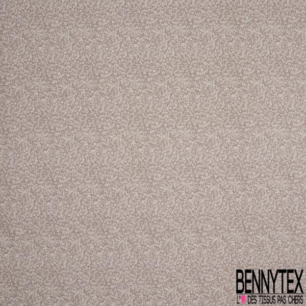 Crétonne 100% coton Impression Motif fleur de sel Fond gris