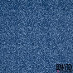 Crétonne 100% coton Impression Motif fleur de sel Fond bleu nuit