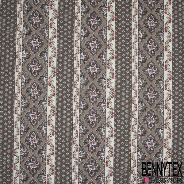 Crétonne 100% coton Impression Motif maillane et bandes de fleurs Fond gris