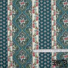 Crétonne 100% coton Impression Motif maillane et bandes de fleurs Fond bleu canard