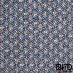 Crétonne 100% coton Impression Motif fleurs naives Fond marine