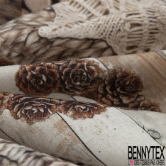 Crétonne 100% coton Impression Motif bois tresses ton beige taupe