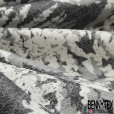 Toile Lin Souple Enduite Imprimé fougère gris