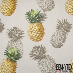 Toile Lin Souple Enduite Imprimé ananas Fond gris taupe