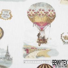 Toile Lin Souple Enduite Imprimé montgolfière Fond blanc