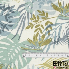 Toile Lin Souple Enduite Imprimé plante ton vert bleu Fond blanc