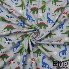 Jersey Coton Elasthanne motif dinosaures Fond gris