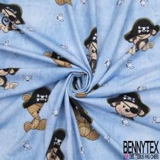 Jersey Coton Elasthanne motif enfantin ours et singe pirate Fond jean clair