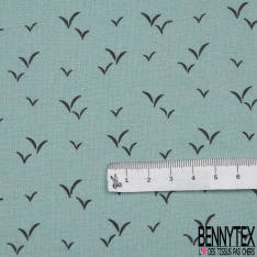Toile Lorraine 100% coton Impression Motif oiseaux naïfs Fond azur