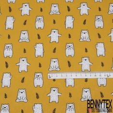Toile Lorraine 100% coton Impression Motif petits oursons Fond moutarde