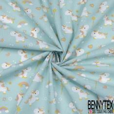 Toile Lorraine 100% coton Impression Motif enfantin licorne Fond bleu