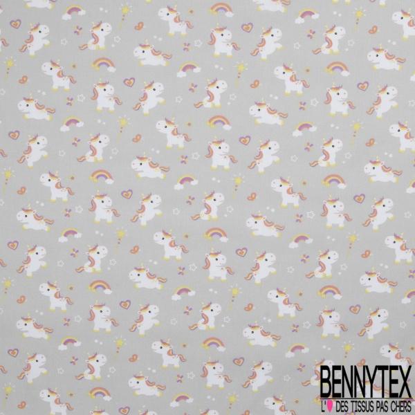 Toile Lorraine 100% coton Impression Motif enfantin licorne Fond gris