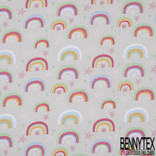 Toile Lorraine 100% coton Impression Motif enfantin arc en ciel Fond gris