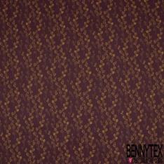 Toile Lorraine 100% coton Impression Motif grappes or Fond prune