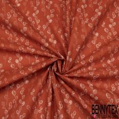 Toile Lorraine 100% coton Impression Motif grappes Fond orange sanguine