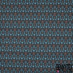 Toile Lorraine 100% coton Impression Motif floral tons bleu brique