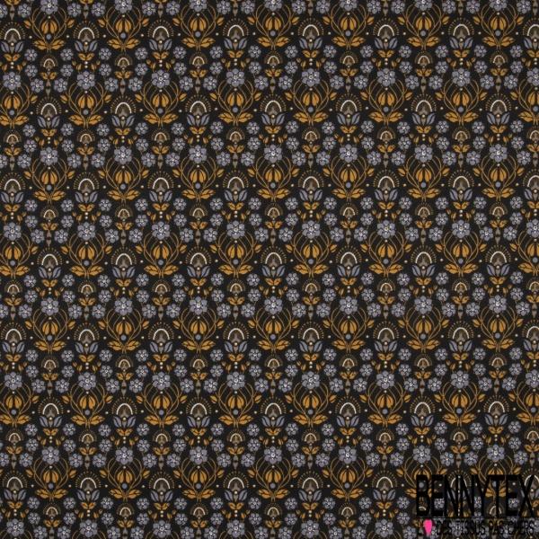 Toile Lorraine 100% coton Impression Motif floral tons gris moutarde