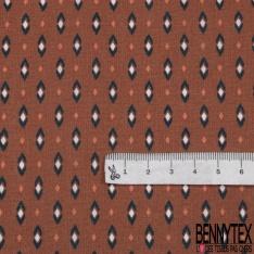 Toile Lorraine 100% coton Impression Motif petits losanges fantaisistes Fond brique