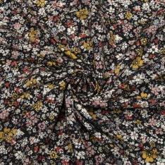 Fibrane viscose imprimé motif floral Fond noir