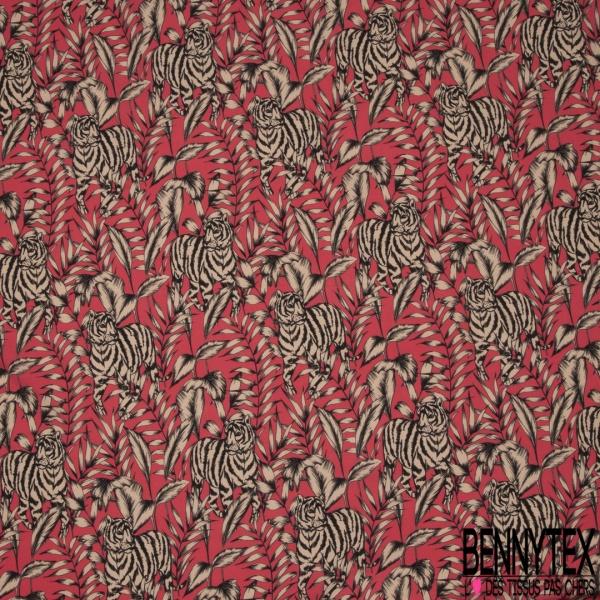Fibrane viscose imprimé motif tigre Fond fushia
