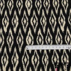 Fibrane viscose imprimé motif losange fantaisiste écru Fond noir