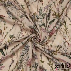 Fibrane viscose imprimé motif floral fantaisie Fond rosé