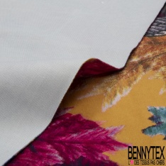 Velours Lisse Imprimé héron multicolore Fond moutarde