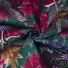 Velours Lisse Imprimé héron multicolore Fond vert