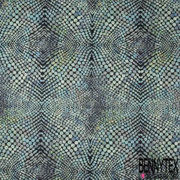 Velours Lisse Imprimé peaux de reptiles ton bleu