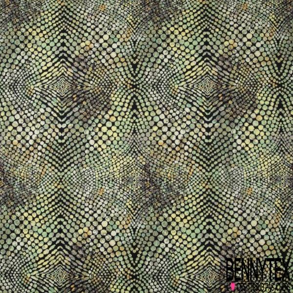 Velours Lisse Imprimé peaux de reptiles ton vert