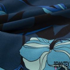 Crêpe Viscose Imprimé Motif floral tons bleus
