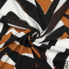 Crêpe Viscose Imprimé Motif zébré tons roux marrons noirs blancs