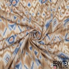 Crépon Viscose Motif fantaisies tons bleu ocre blanc