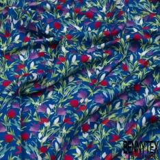 Jersey Viscose Imprimé Motif floral Fond bleu