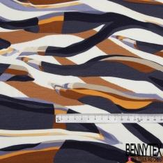 Jersey Viscose Imprimé Motif zebré tons ocre marine blanc
