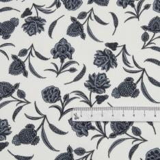 Popeline Coton Imprimé Motif floral gris Fond blanc