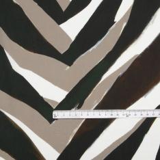Popeline Coton Imprimé Motif zebré tons kaki taupe blanc