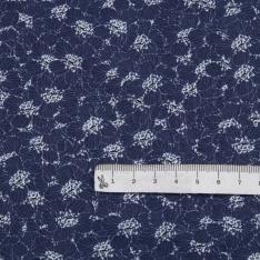 Popeline Coton Imprimé Motif floral bleu blanc