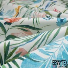 Satin de Coton Elasthanne Imprimé Motif feuillage muticolore Fond blanc