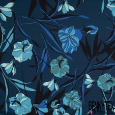 Satin de Coton Elasthanne Imprimé Motif floral tons bleus