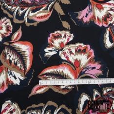 Satin de Coton Elasthanne Imprimé Motif feuilles fantaisistes taupe rouge blanc Fond bleu nuit