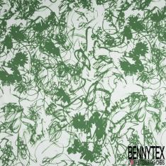 Satin de Coton Elasthanne Imprimé Motif dessiné floral vert Fond blanc