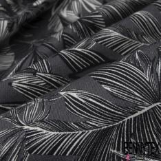 Toile de Coton Imprimé feuillage blanc noir Fond gris anthracite