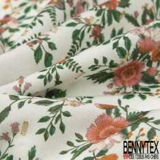 Fibrane viscose imprimé motif floral Fond blanc